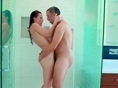 A hottie loses her clothes and then she fucks in the bathroom