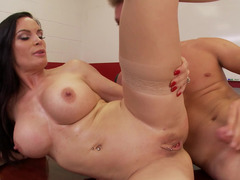 A busty milf with a sexy body is getting her large tits touched