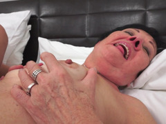 Fat old bitch is getting a dick in her cunt and she is massaged