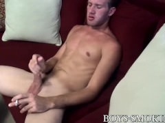 Jake Parker smokes and wanks his shaft