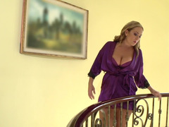 Milf and the French maid suck on his big cock together