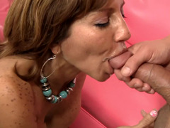 Housewife gives a rimjob and gets fucked balls deep