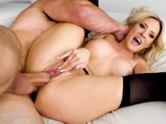 A blonde with large tits is getting fucked and licked too