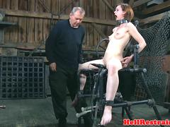 Bondage sub dominated by electro nippleplay