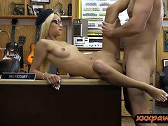 Blondie babe with glasses railed by perverted pawn guy