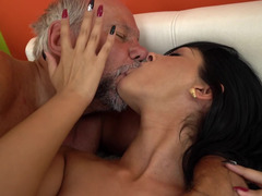 A grandpa that loves sexy bitches with hot asses is kissing this one