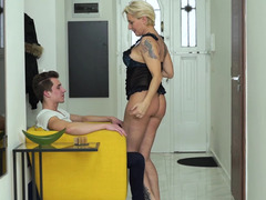 Mature lady seduces young guy and tastes his cum after fucking