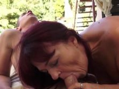 A redhead granny wants to take that huge cock and moreover blow it before spreading her legs for this familiar
