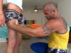 Straight dude strips for a gay massage and gets groped