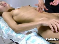 Hairy cutie with puffy nipples enjoys massage