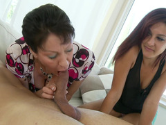 Short haired mom is ready to teach her daughter how to suck a dick