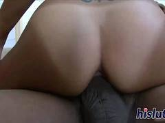 Tanned Asian hottie bounces on a BBC