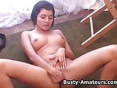 Busty amateur Vanessa loves fingering her pussy