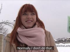 Fire redhead bangs for money in public