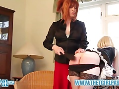 TGirl Mistress Luci May spanks blonde tranny maid tight ass