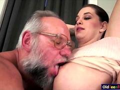 Cutie Angelina Brill gives head to a grandpa and rides cock