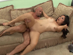 Hot Asian bimbo gets fucked in her red high heels on the sofa