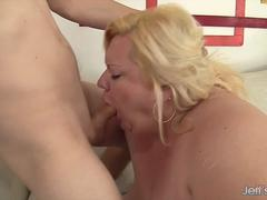 Chubby woman sucks dick and gets fucked from behind