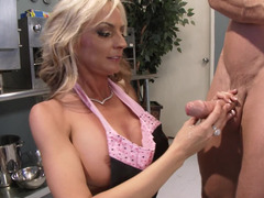 A blonde removes her panties and she then gets fucked well