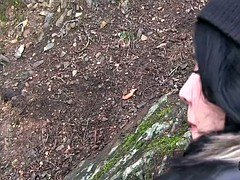 Euro babe in leather jacket bangs outdoor pov