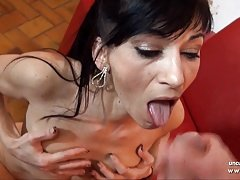 Horny french mature analyzed n facialized with cum in mouth