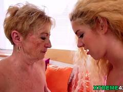 Weird Granny licking Monique Woods young pussy