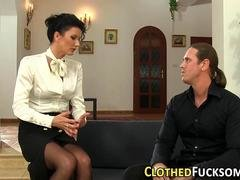 Clothed glam ho mouth cum