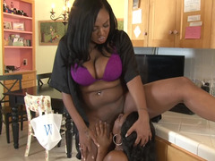 Sexy black ladies get out the toys for erotic lesbian sex