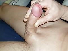 Wanking my uncut cock to throbbing cumshot compilation