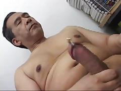 Japanese daddy cumming show 2