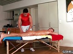 Exciting bareback sex with sexy blond twink getting banged hard