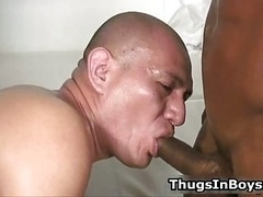 Hairless guy sucking black cock and also gets fucked by it 7