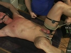 Fair-haired gay gets tormented and fucked by his coach in the locker room