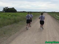Muscular army hunks ass railed outdoors