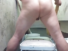 Joey D sitting on Huge Dildo with curvy wet butt