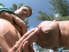 Carter Stone and Dave Johnson make gay love in the yard after oral sex