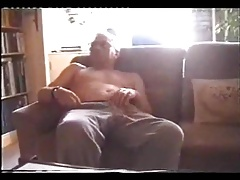 Grandpa pulling his dick on the couch