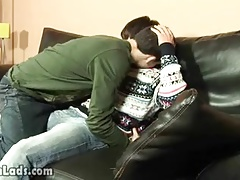 Adorable boy teases his mate tonguing his nipples
