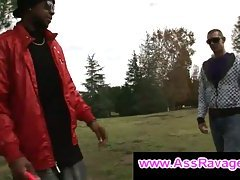 Black thug meets gay boy outside in the park