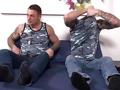 Tattooed Army Bros Bareback Fuck and Suck Cock