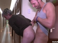 Steven Daigle blows and gets his gay ass pounded behind the corner