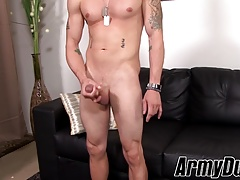 Army duty twink Troi King spanks his meaty rocket and cums