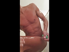 Guy Takes a Shower and Fucks a Dildo