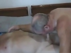 A older mature men sucking another mature older men cock