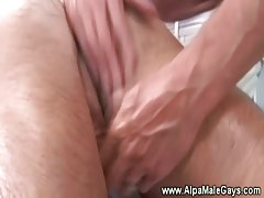 Big muscular bear gives a sensual hand massage to another bear