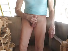 Sissy pulls his spandex leggings down to masturbate