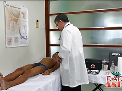 Doctor Daddy measures twink patients ass with his cock