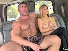 Bulky gay bear smashes a twink's butt in a minivan