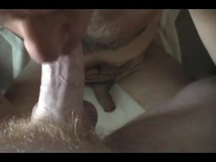 Buddy sucks my cock then I squirt on his hairy chest