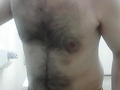 Strip and cum at work